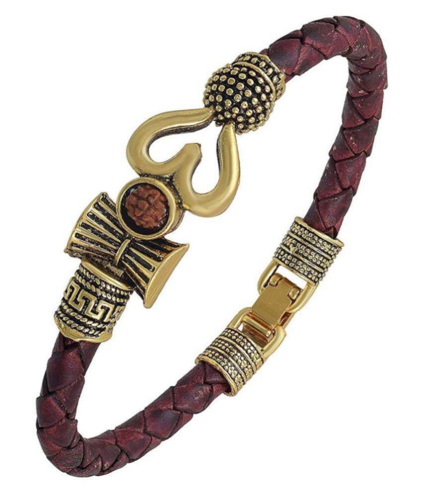 PK Retailers Rudraksha OM Trishul Damroo Designer Oxidized Gold Bahubali Leather Kada Bracelet for Men & Women