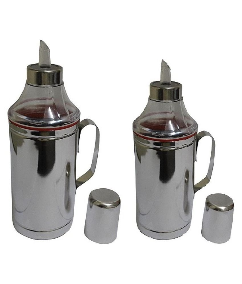 Dynore Steel Oil Container/Dispenser Set of 2 1000 mL