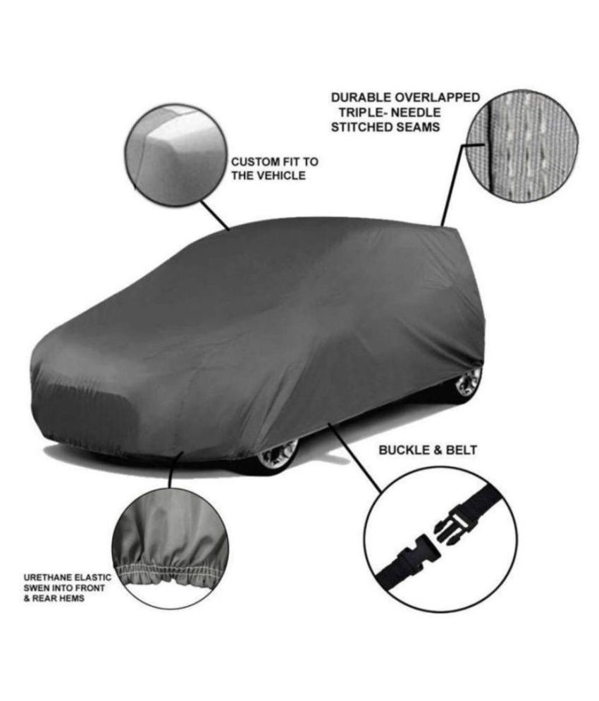 Soami Grey Matty Dust Proof Car Body Cover for Maruti Suzuki Alto 800 with Out Mirror Pockets Triple Stitching & Light Weight (Grey Color) Model 2016-17