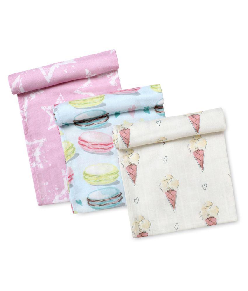 Softsens Multi-Colour Cotton Baby Wrap cum blanket ( 100 cm × 100 cm - 3 pcs)