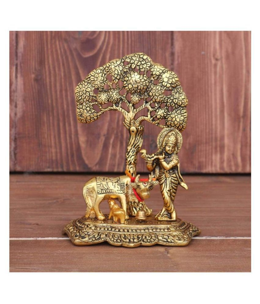 Vighnesh Art and Crafts Metal Krishna with Cow Standing Under Tree Plying Flute (Gold, 12x8x17cm)