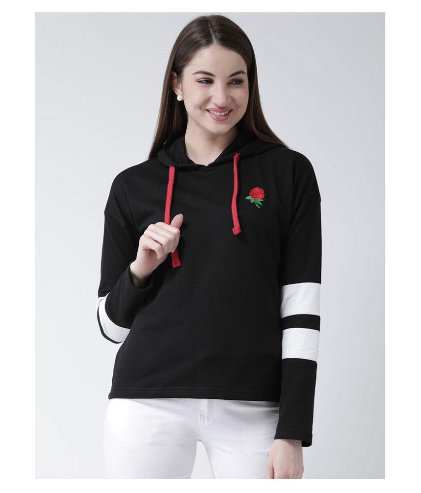 Club York Cotton   Fleece Black Hooded Sweatshirt