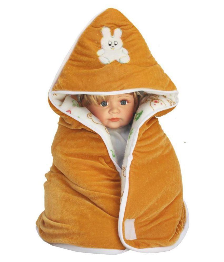 EasyHome Brown Velvet Baby Wrap cum blanket ( 67 cm × 67 cm - 1 pcs)