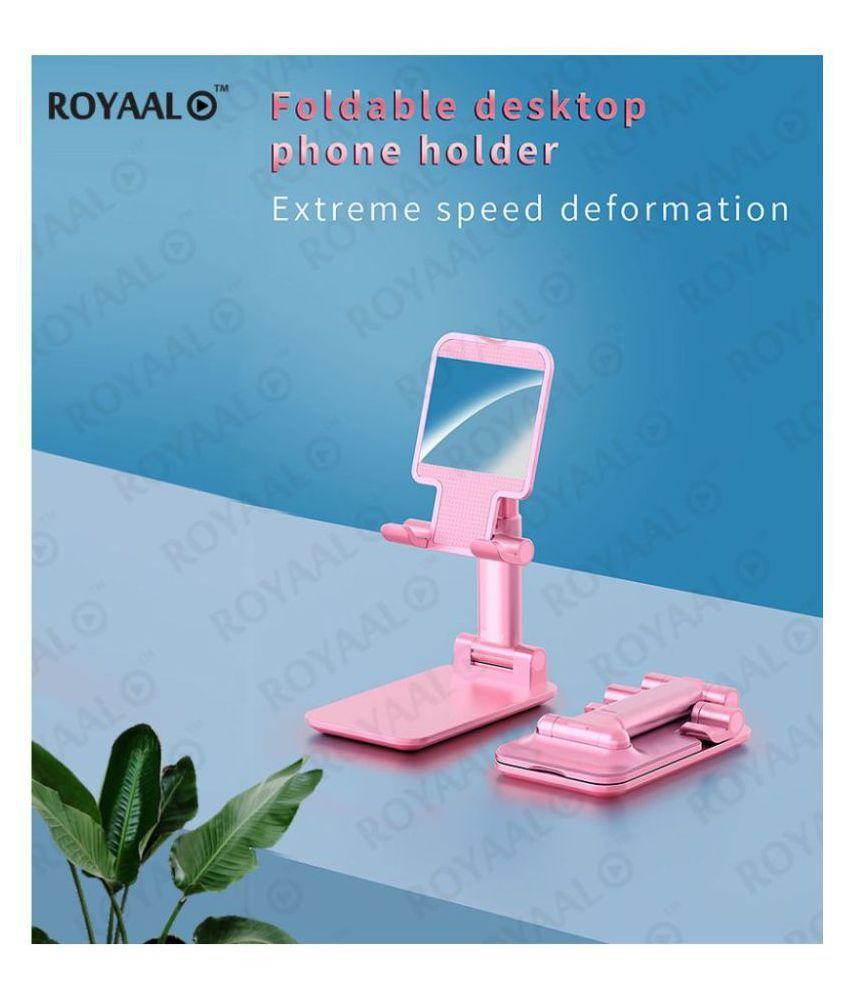 ROYAAL™ Foldable Desktop Phone Holder Tablet Stand Mobile Desk Stand Mobile Tablet Holder with Angle & Height Adjustable Desk Cell Phone Holder Anti-Slip Compatible with Smartphones/iPad Mini/Game/Kindle/Tablet(4-10