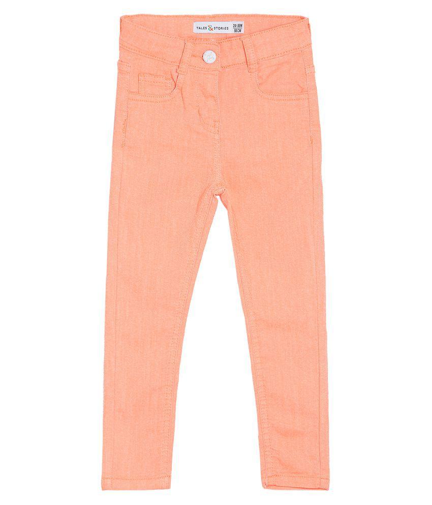 Tales & Stories Infant's Orange Cotton Slim-Fit Jeans