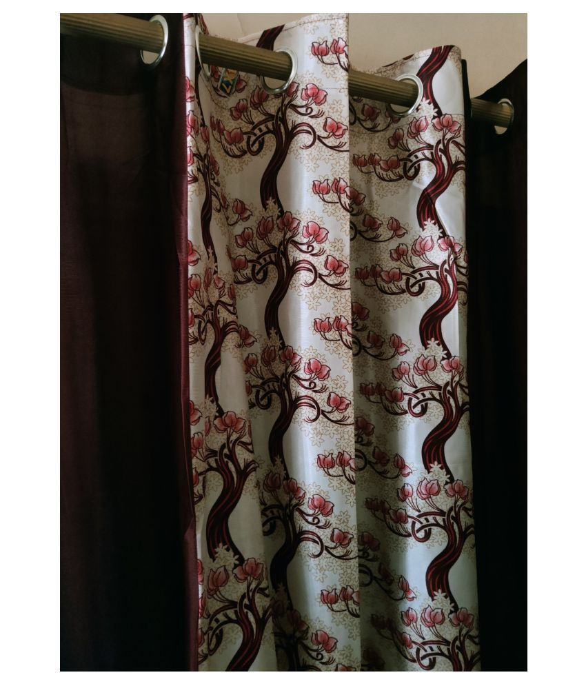 Ds Creation Set of 2 Door Eyelet Polyester Curtains Maroon