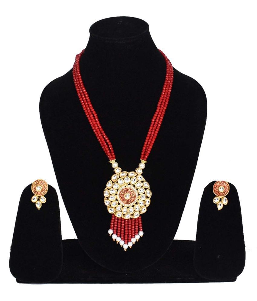 Jaishree Jewels Alloy Red Contemporary Designer Gold Plated Necklaces Set