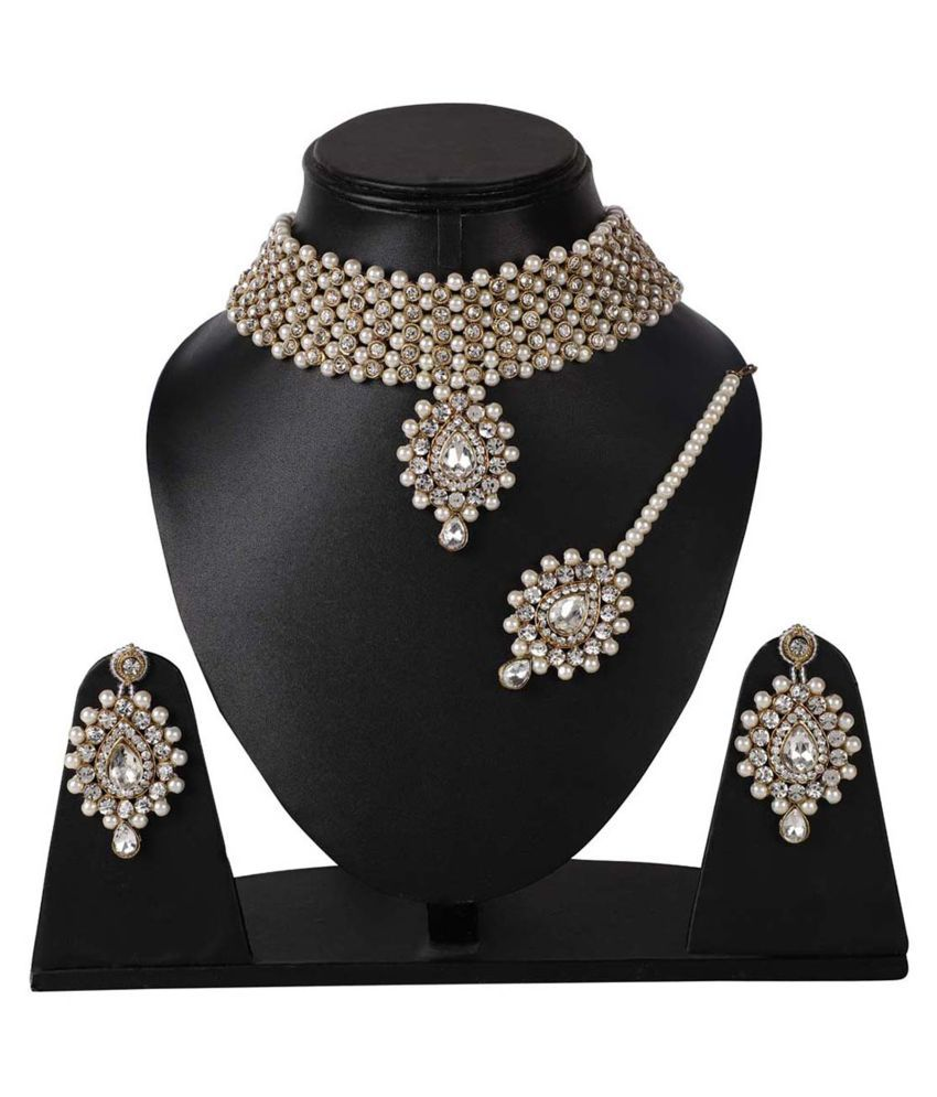 Jaishree Jewels Alloy White Contemporary Designer Gold Plated Necklaces Set