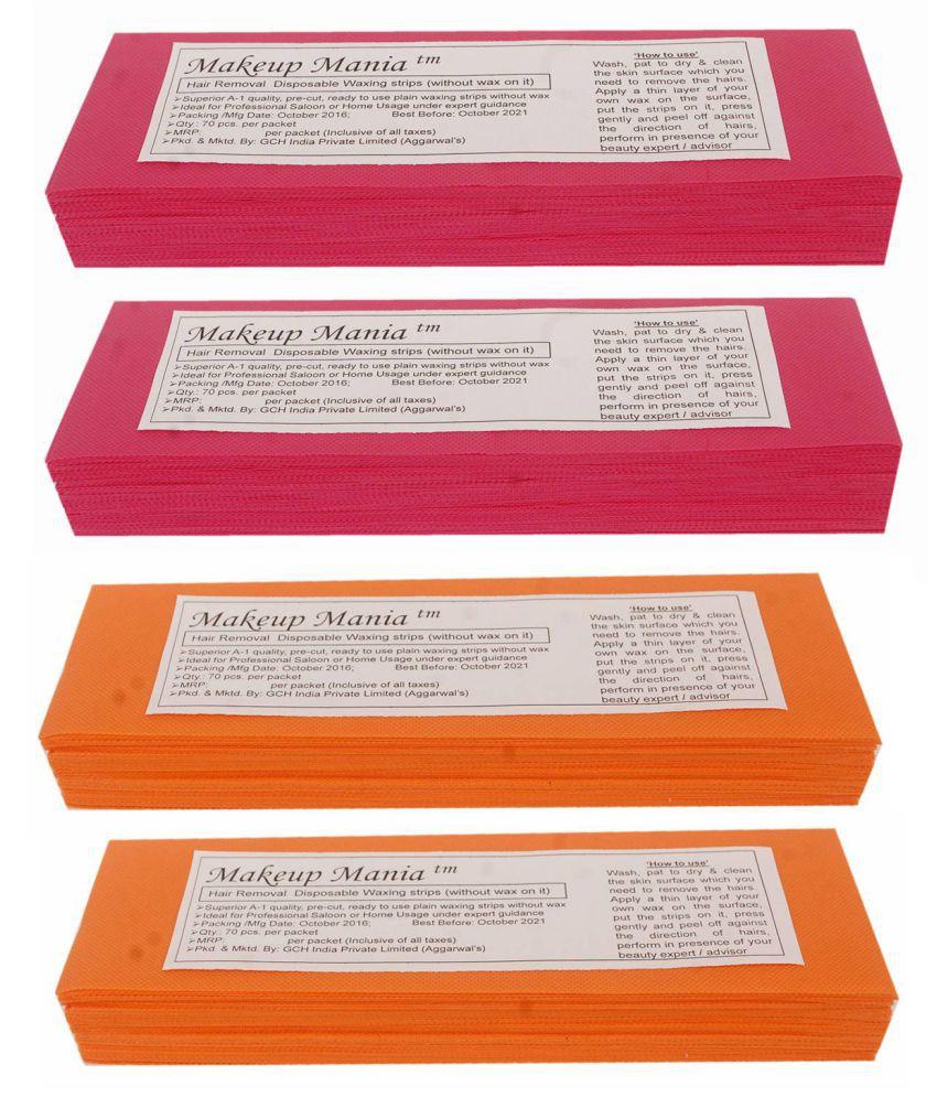 Makeup Mania Hair Removal Waxing Strips 280 Strips (4 Pkts x 70) Non-Woven Body Wax Strips (Red-Orange)