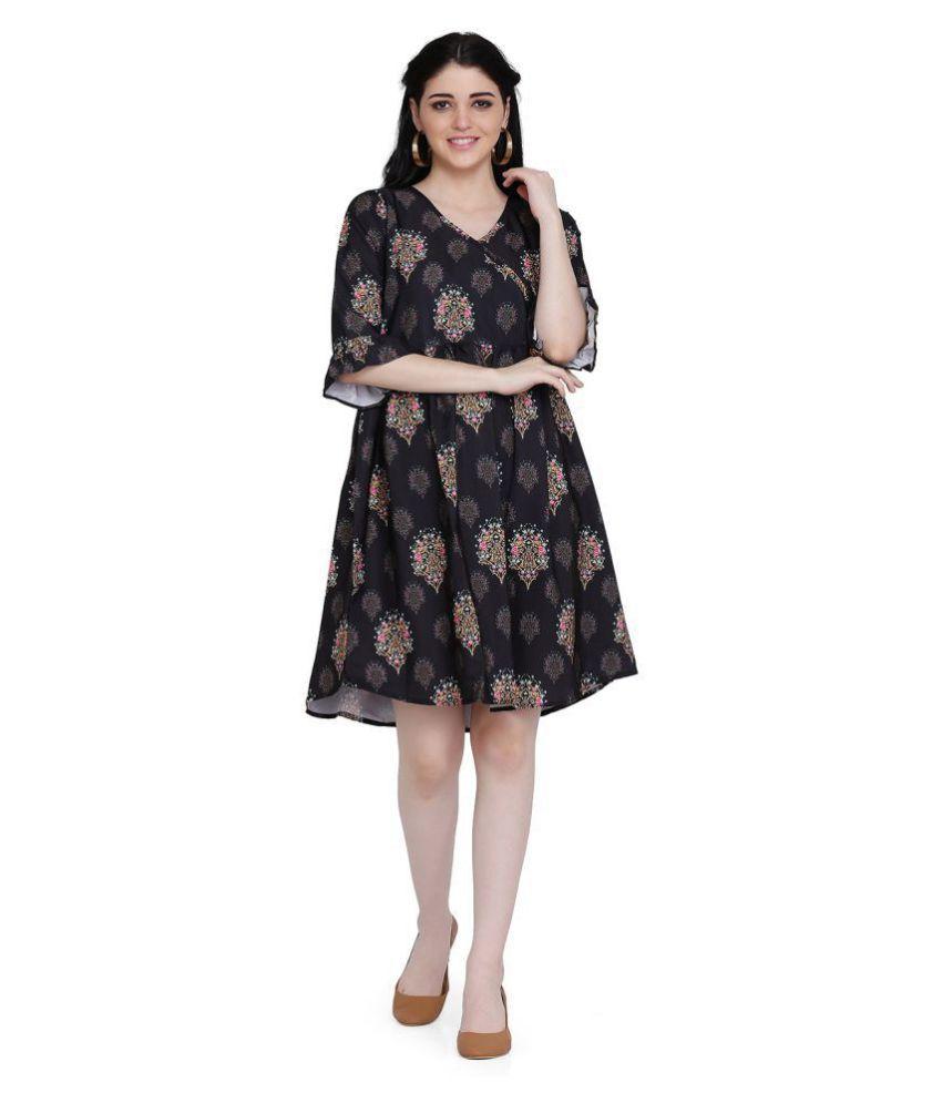 manisha Fashion Poly Satin Black Regular Dress