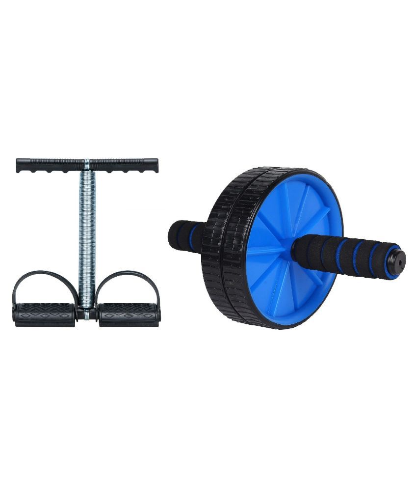 Effingo (2 in 1) Anti Skid Double AB Wheel Roller with Single Spring Tummy Trimmer for Abdominal Core Workout Strength Training Home Gym Fitness Equipment Body Toner for Men and Women (Multicolor)