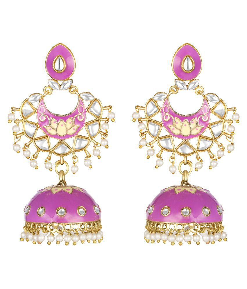 Kord Store Good-looking Alloy Gold Plated Meena Work Jhumki Earring For Women & Girls