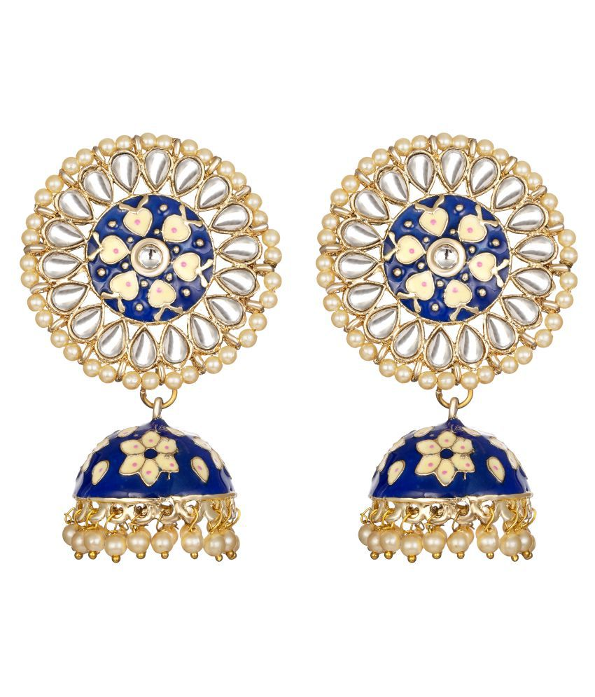 Kord Store Gorgeous Alloy Gold Plated Meena Work Jhumki Earring For Women & Girls