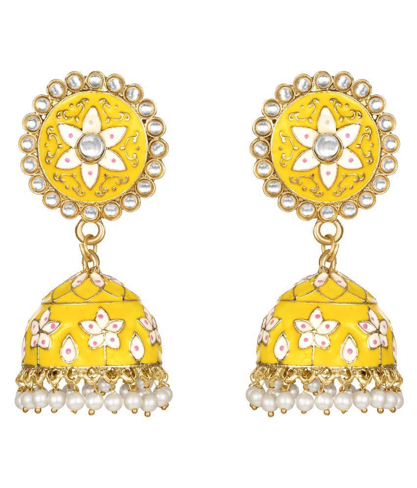 Kord Store Lovely Alloy Gold Plated Meena Work Jhumki Earring For Women & Girls