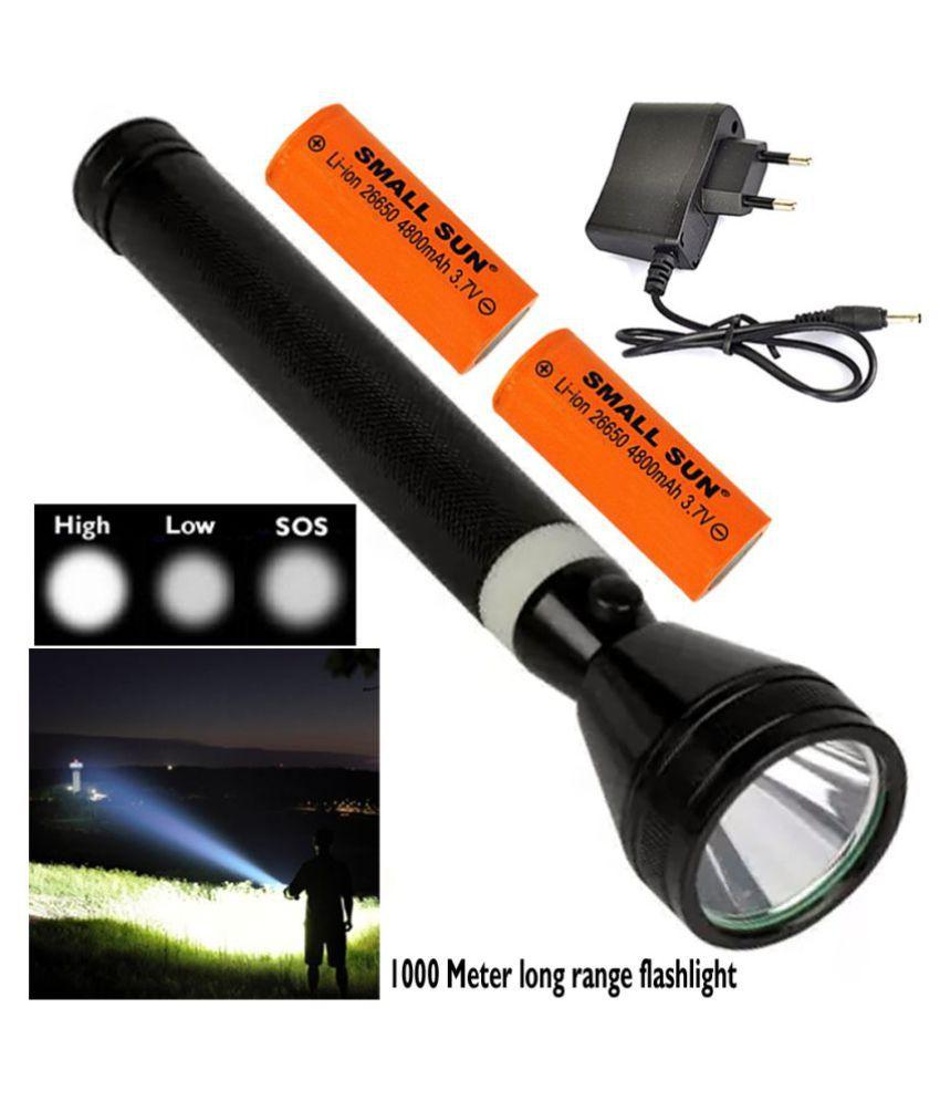 Small Sun 1000 Meter Rechargeable 3 Mode High Power Waterproof Torchlight 10W Flashlight Torch Emergency Light - Pack of 1
