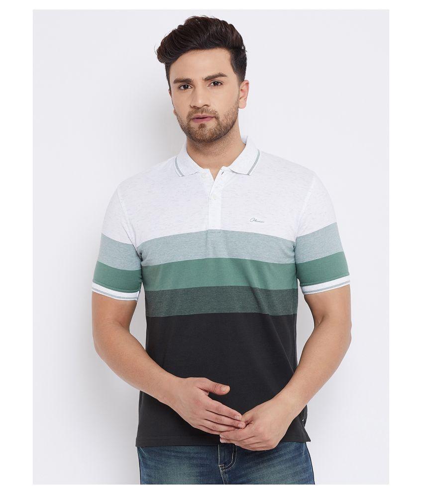 Otman Cotton Lycra Green Stripers Polo T Shirt