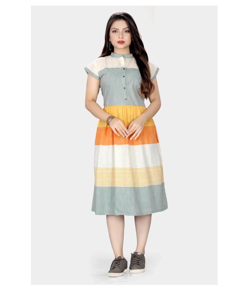 SHIVANSH TEX Cotton Grey Fit And Flare Dress