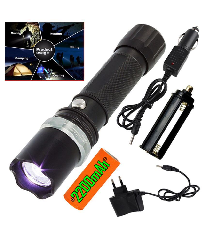 SM 3 modes Zoomabel 600 meter long Rang Rechargeable Flashlight Torch 13 w 13W Flashlight Torch Waterproof Led Torch - Pack of 1
