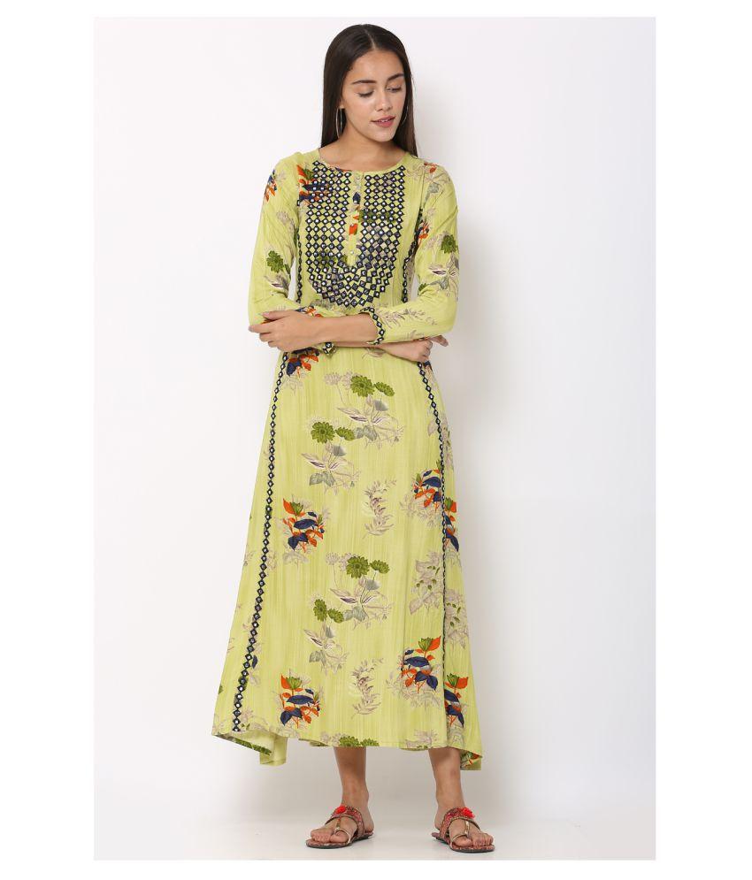 I Wisher Rayon Green Regular Dress