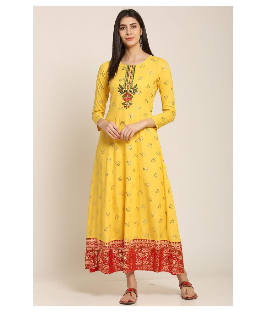 I Wisher Rayon Yellow Regular Dress
