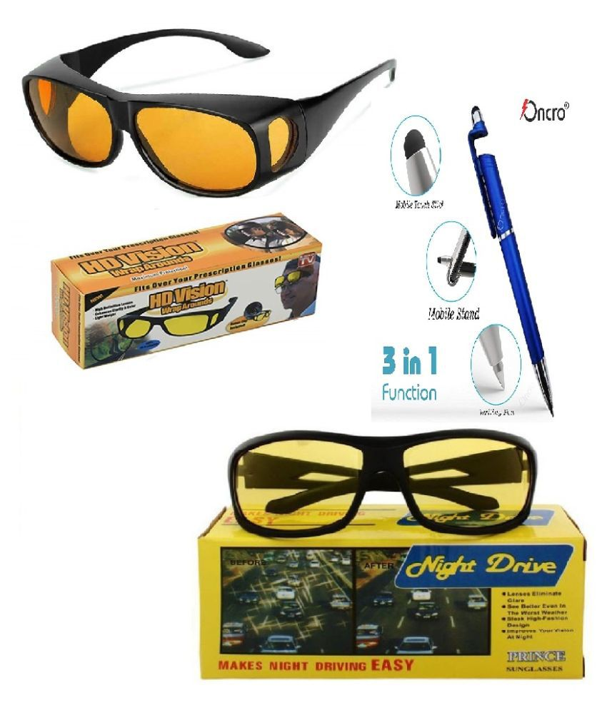 NIGHT  VISION DRIVING & HD WRAP AROUND ANTI GLARE SUNGLASSES (yellow) With 3 in 1 pen Pack of 2