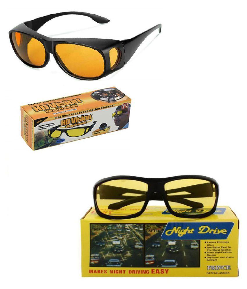 UV Protection Wrap Around & Night Drive Men's and Women's Sunglasses (Yellow) Pack of 2