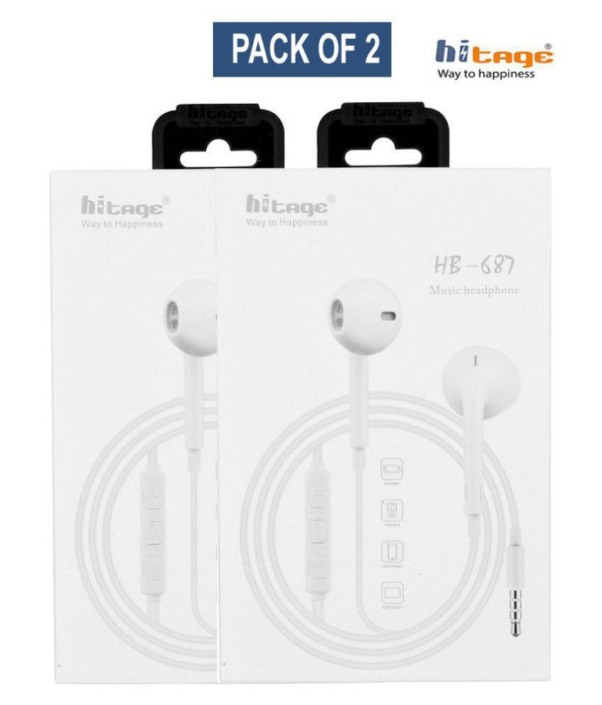 hitage HP 687 Music Headphone Premium Pack of 2 In Ear Wired With Mic Headphones/Earphones