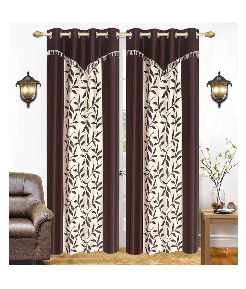 BM Creation Set of 2 Door Semi-Transparent Eyelet Polyester Curtains Brown