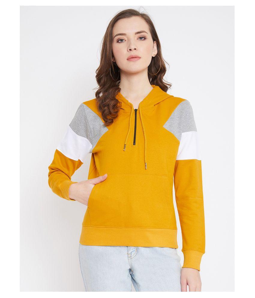 Jhankhi Fleece Yellow Hooded Sweatshirt