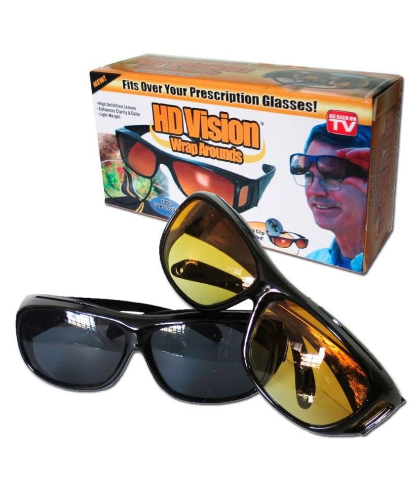 UV Protection HD Vision Wraparounds & Night Sunglasses (yellow & Black)  Pack Of 2
