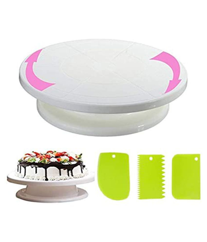 Bulky Buzz Revolving Cake Decorating Turntable, 360° Round Easy Rotate Cake Stand for Sugarcraft, Rotating Platform for Cake Baking, 28 cm, Cake Decoration Turning Table Tool with 3pc Scraper Fondant Set