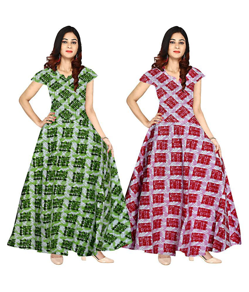 JWF Cotton Multi Color Fit And Flare Dress