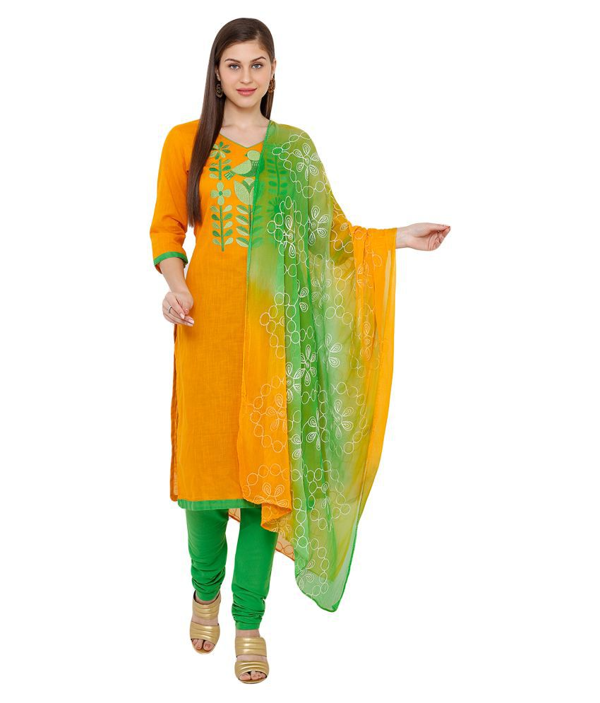Salwar Studio Cotton Kurti With Churidar - Stitched Suit