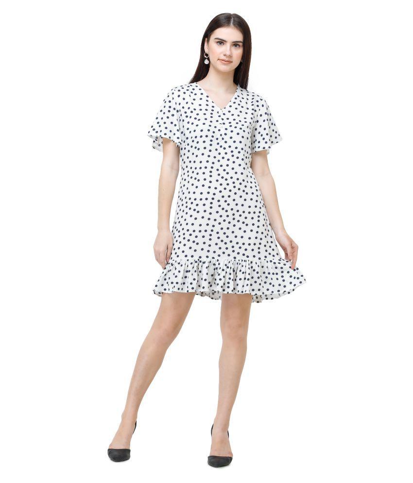 DECHEN Rayon White Regular Dress