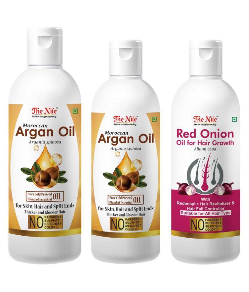 The Nile Argan Oil 150 ML + 100 ML (250Ml) + Red Onion Oil 100 Ml 350 mL Pack of 3