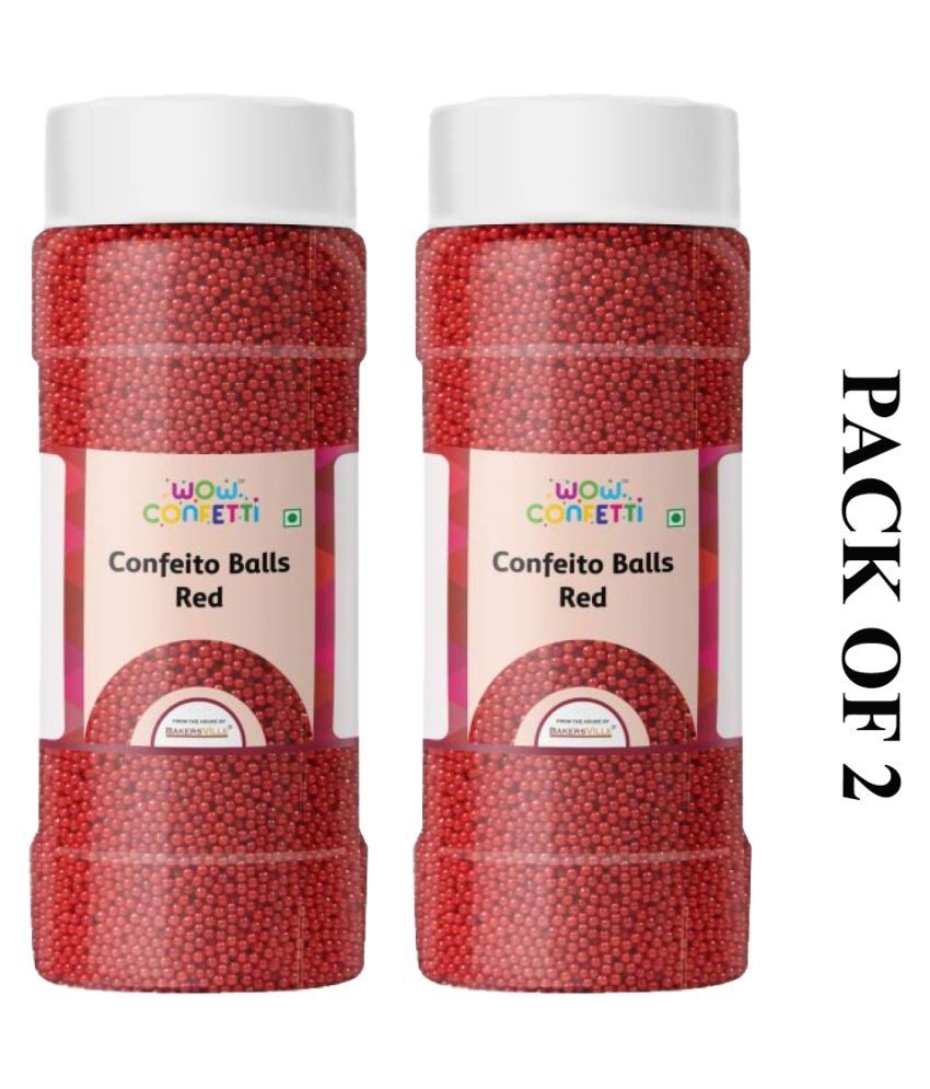 Wow confetti Confeito Balls (Red), 150 g Pack of 2