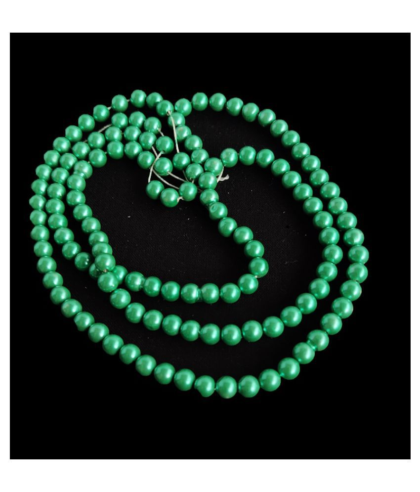 500pcs Round Color Beads for Jewellery Making & Embroidery (Mor Pichh Green, 10mm)