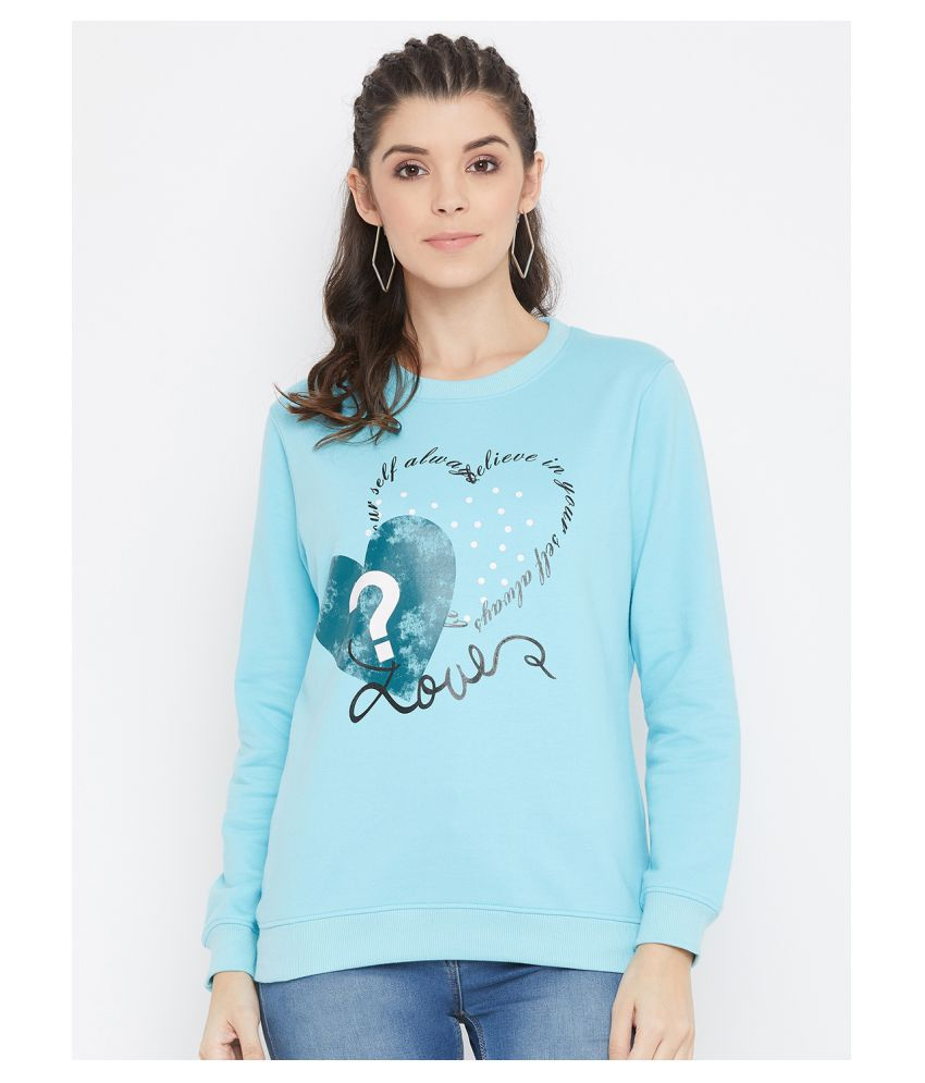 BISHOP COTTON Cotton Blue Non Hooded Sweatshirt