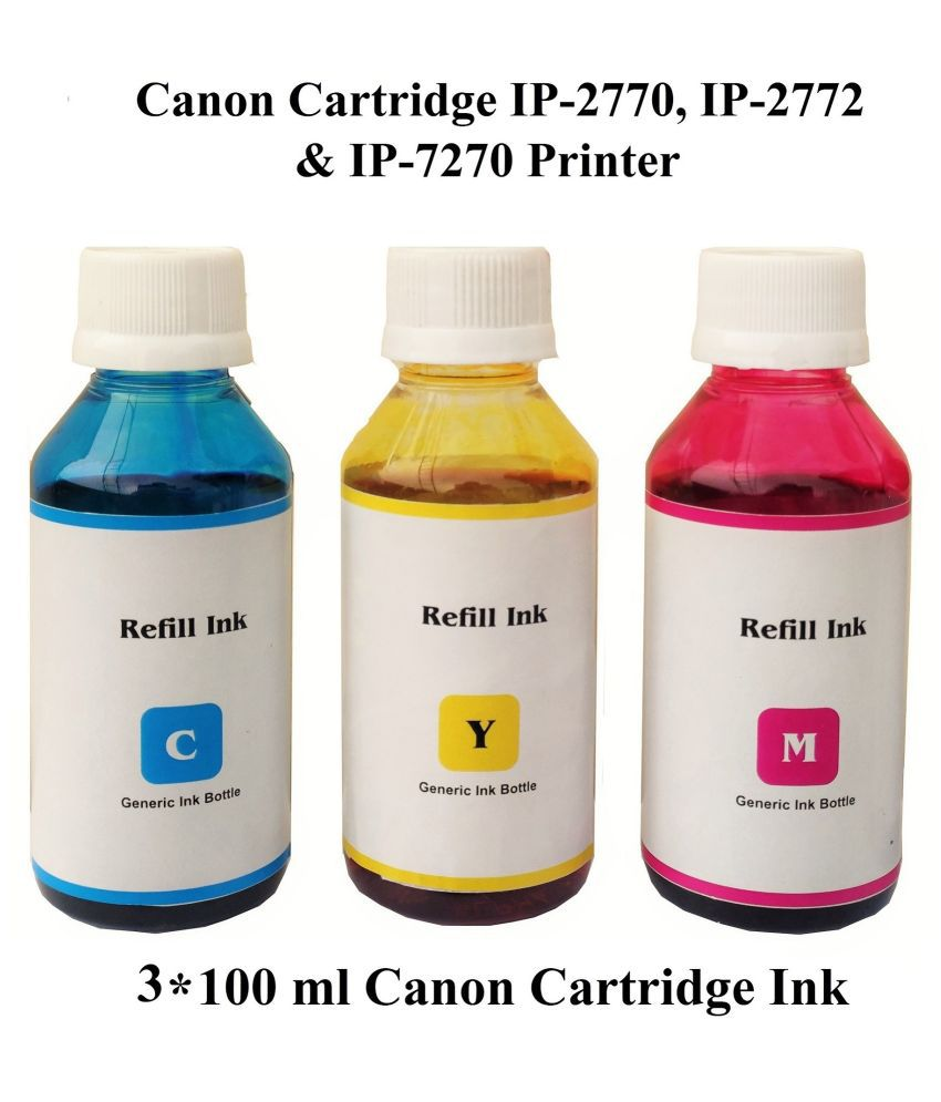 DOTINK Refill Canon Pixma Multicolor Pack of 3 Ink bottle for Compatible Canon IP Cartridge IP 2770, IP 2772  amp; IP 7270 Printer  3*100 ml