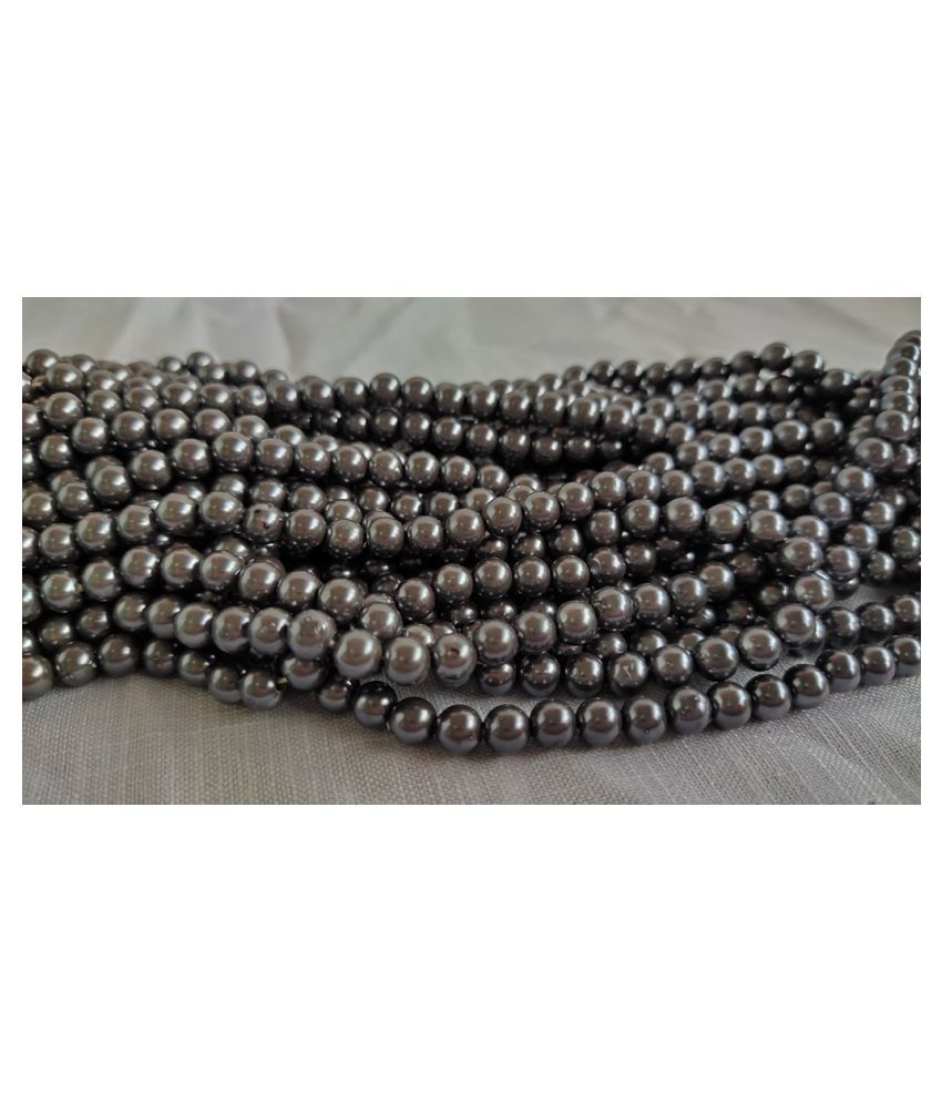 200pcs Round Color Beads for Jewellery Making & Embroidery (Grey, 6mm)