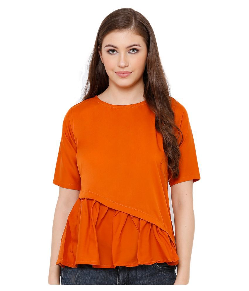 Salwar Studio Poly Crepe Regular Tops - Orange