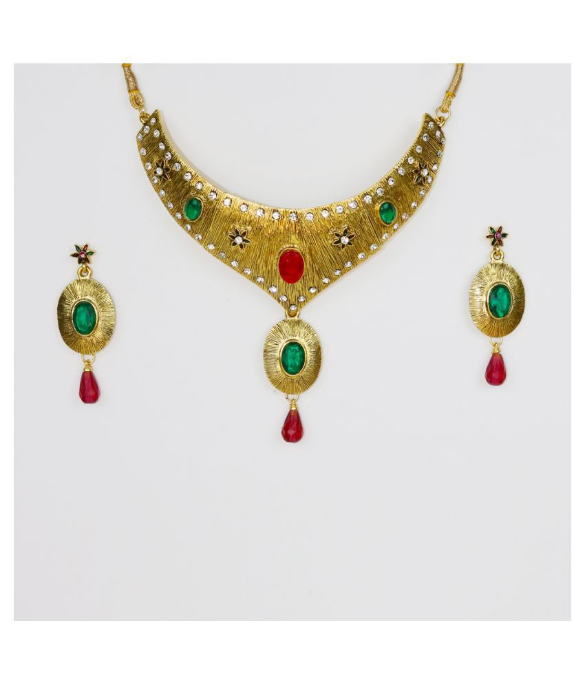 Abhiroopa Yellow Opera Contemporary/Fashion Half Gold Plated Necklaces Set