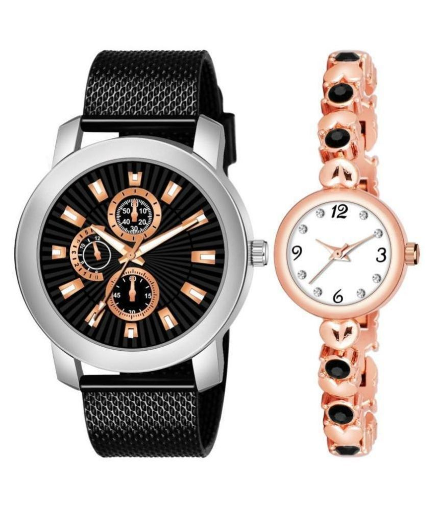 RACOON 506_776 STYLISH COUPLE WATCH COMBO FOR MEN AND WOMEN