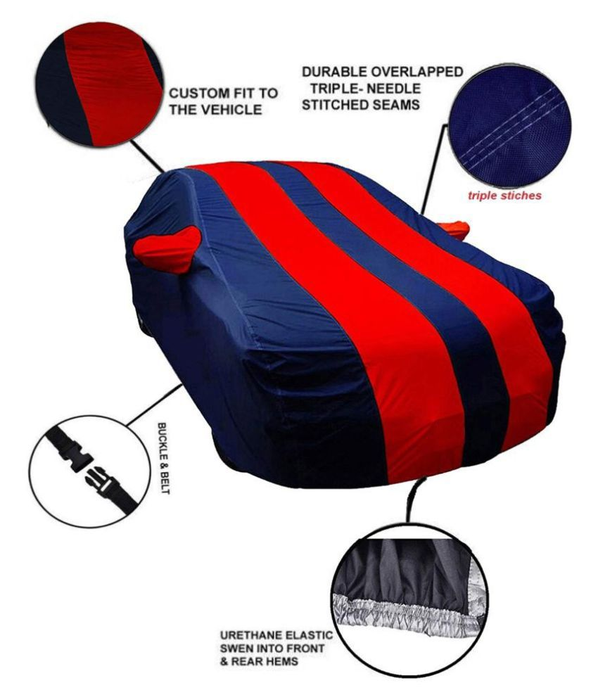 Soami Dust Proof Car Body Cover for Renault Kwid with Mirror Pockets Triple Stitching & Light Weight (Navy Blue & RED Color) Model 2016-17