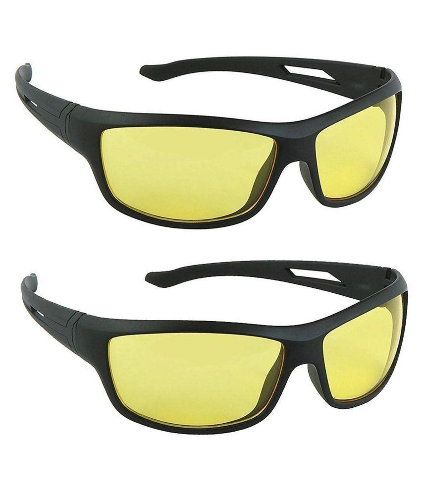 Around Eyewear Stylez  Night Glasses For Driving Car Or Bike Uv Protection Hydrophobic Coating ( Yellow ) Set Of 2