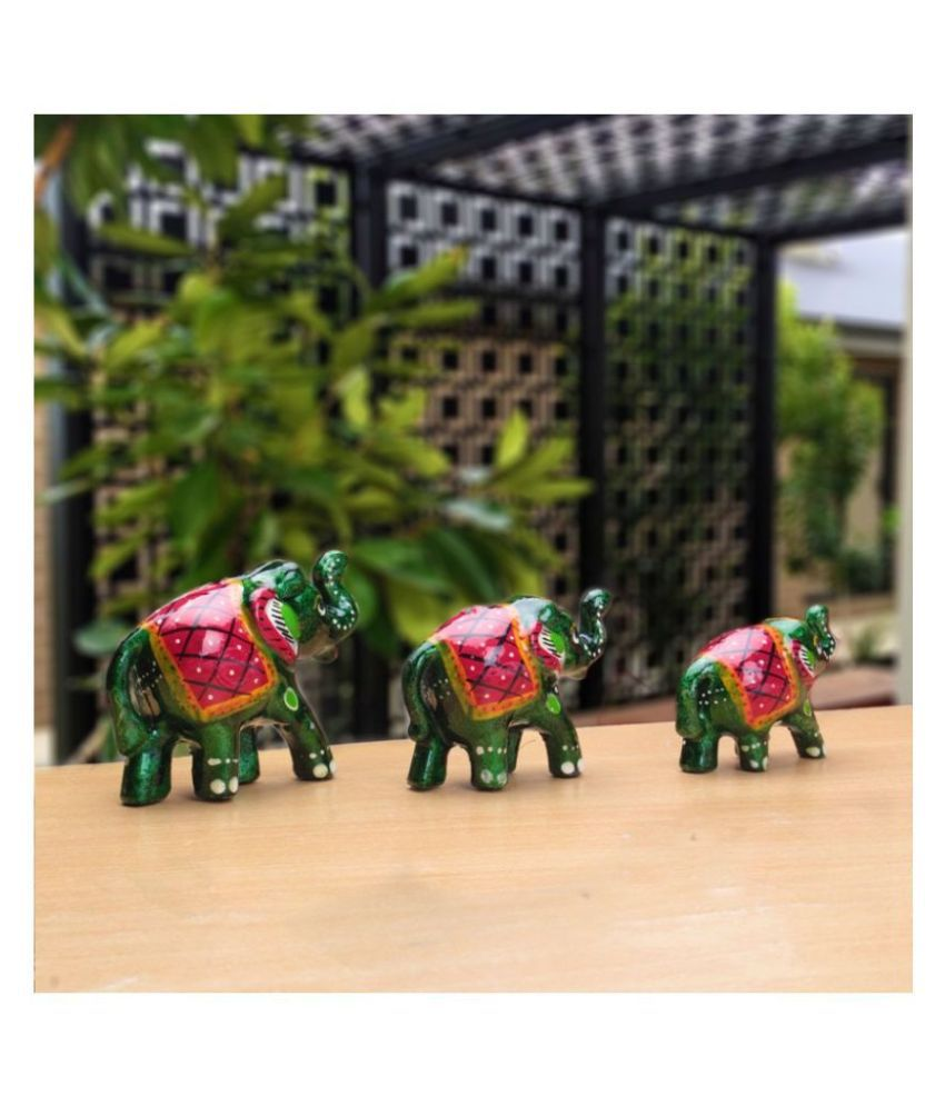 Fashion Art Green Paper Mache Elephant Set Figurines - Pack of 1