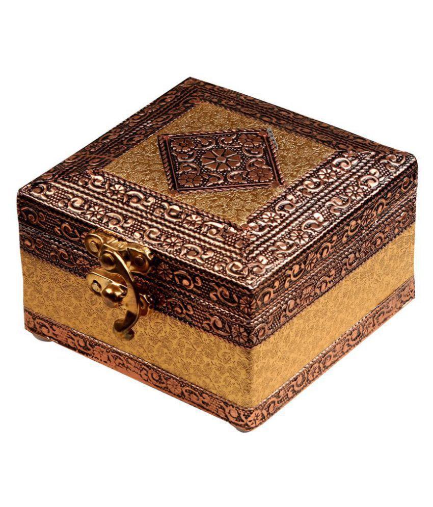LIBAAX 4inch X 4inch  Jewellery Box, Oxidized Wooden Bangle Box, Wedding Gift Box
