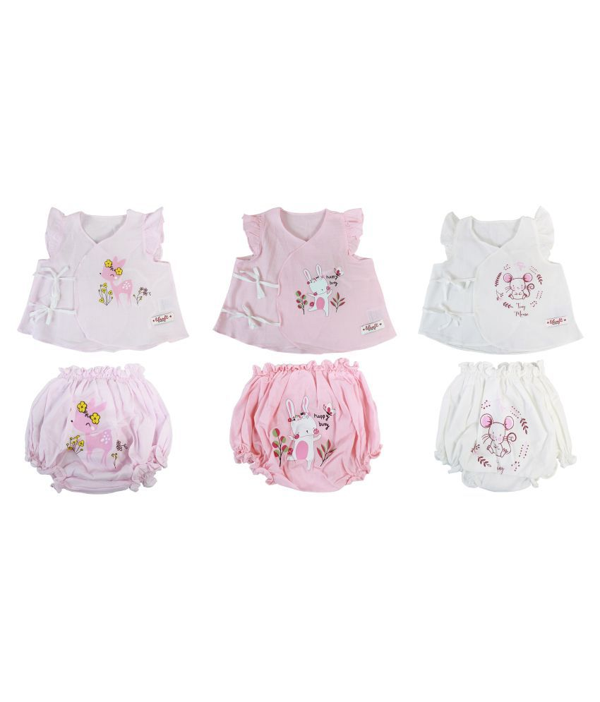 LILSOFT Baby Girl's Woven Cotton 3 Pack Set Wrap T-Shirt and Diaper Cover