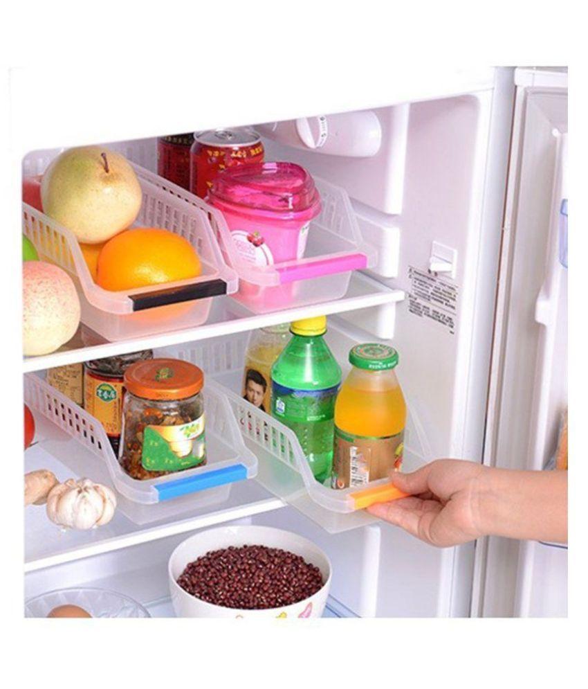 Plastic Fridge Space Saver Food Storage Organizer Basket Rack  SET OF 4 PICES