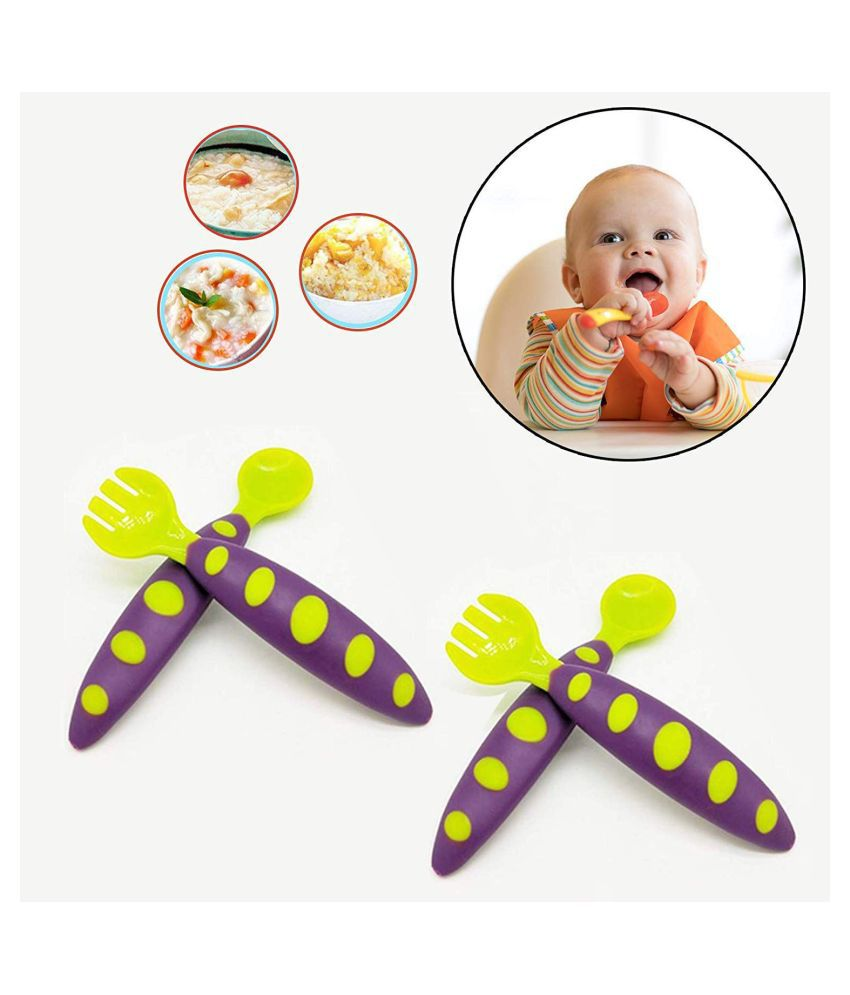 SAFE-O-KID Silicone 4 pc Spoons & Forks